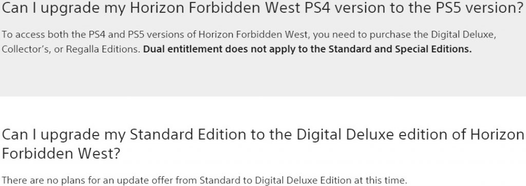 Horizon Forbidden West upgrade FAQ